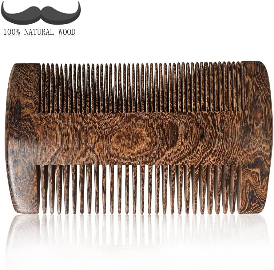 Beard comb,100% nature Gold Sandalwood beard combs with case,anti static handmade dual action fine & standard teeth, perfect for use with Balms and Oils, Top Pocket Comb for Beards & Mustaches …