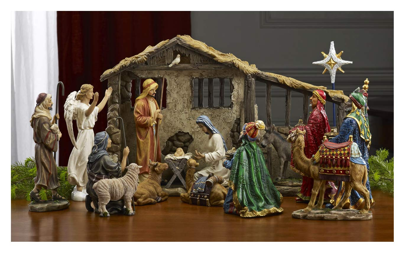 THREE KINGS GIFTS THE ORIGINAL GIFTS OFCHRISTMAS Deluxe Edition 16 Piece 10 inch Christmas Nativity Set with Real Frankincense Gold and Myrrh