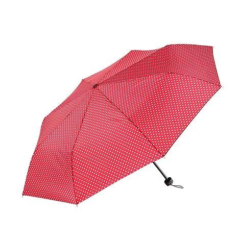 Ayygift moda viaje plegable sombrilla lunares lluvia sol paraguas, Rojo