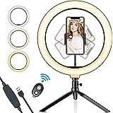SYOSIN Ringlampa, 10,2 tum med stativstativ telefonhållare och Bluetooth-fjärrkontroll med dimbar 3 ljuslägen och 11…