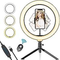 SYOSIN Ringlampa, 25 cm med stativstativ telefonhållare och Bluetooth-fjärrkontroll med dimbar 3 ljuslägen och 11…