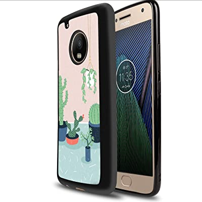 Case for Moto G5 Plus, Glossy Light Fashion Protective Cover Printing Designed Cactus Potted Plant Cartoon Cactus Chlorophytum Hanging Basket Green Plant Painting Desert Fresh Cactus