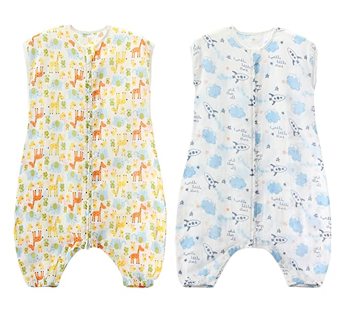 HIKONG 2 Pack Saco Dormir Algodón Bebé Niño Niña Pelele Mameluco Primavera Verano para 1-5 Años: Amazon.es: Ropa y accesorios