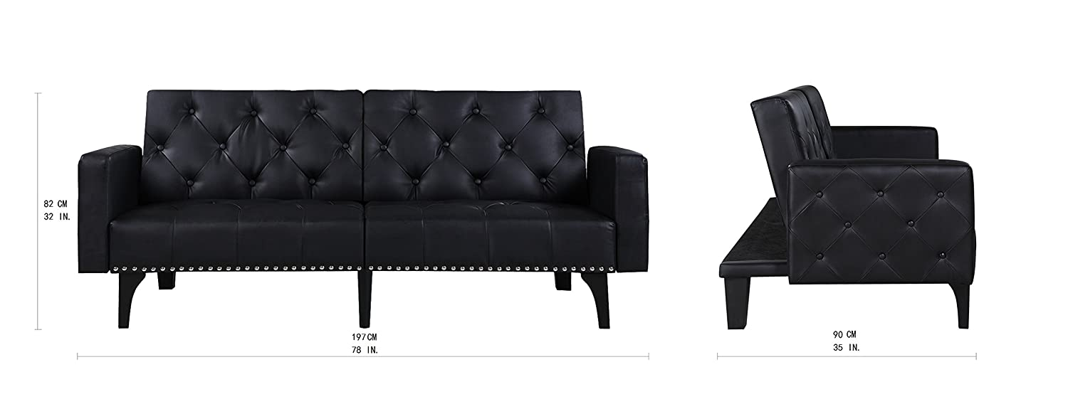 Details about Modern Tufted Bonded Leather Sleeper Futon Sofa with Nailhead  Trim White Black