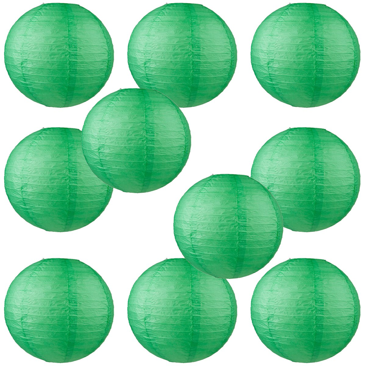 WYZworks Round Paper Lanterns 10 Pack (Dark Green, 10'') - with 8'', 10'', 12'', 14'', 16'' option