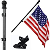 """COCOHOME 6FT Flag Pole Kit - 1"""" Tangle-Free Flagpole with Bracket and 3x5 Embroidered American Flag, Outdoor Spinning House W"""