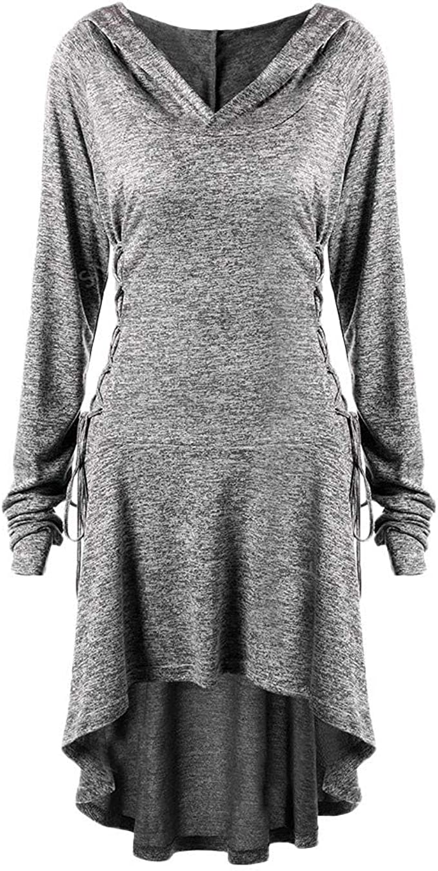 Goosuny Damen Kapuzen Winterkleider Frauen Langarm Hooded Kurze Kleider  Sweatshirt Kleid Locker Longpullover Sportkleid Modische Schöne Einfarbig