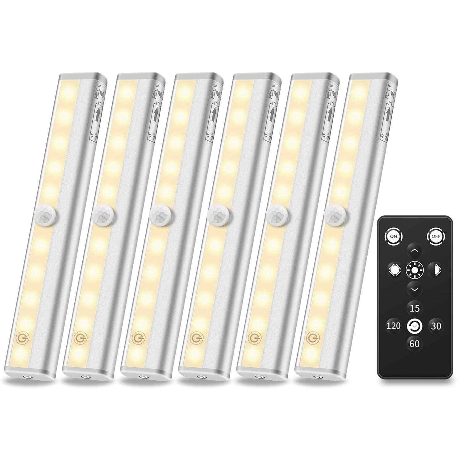 Anbock Wireless Under Cabinet Light with Remote control LED Closet Lights Battery Powered Counter Lighting Touch Switch Dimmable Stick-on Anywhere for Kitchen Stairway Pantry Warm White 3000K 6 Pack by Anbock