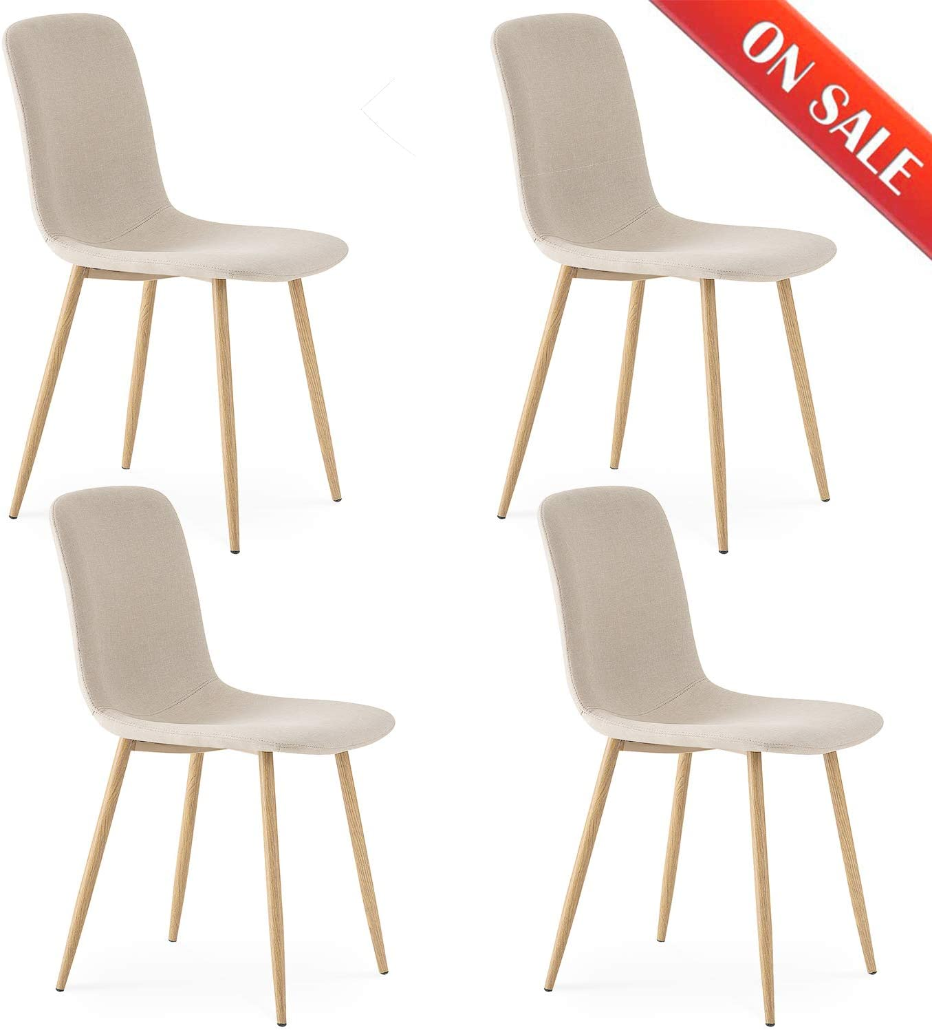 LIFE CARVER Dining Chairs Set of 12 Beige Kitchen Chairs Fabric Solid Metal  Chairs for Dining Room Chairs Beige
