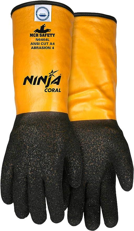 MCR Safety N6464M Ninja Coral Gloves with 10 Gauge Coral ...