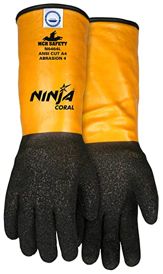 Amazon.com: MCR Safety N6464L Ninja - Guantes de coral con ...