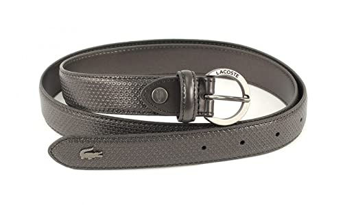 LACOSTE Curved Stitched Edges Belt W80 Shiny Grey