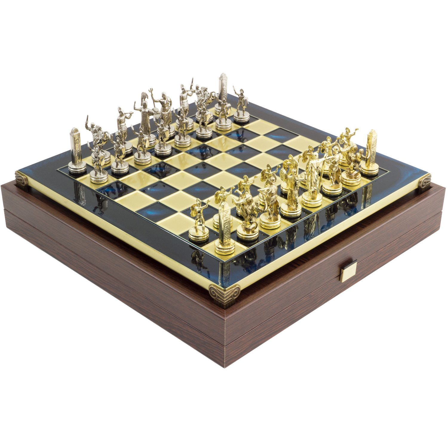 Manopoulos Blue Poseidon Greek Metal Luxury Chess Set With Brass U0026 Nickel  Gold/Silver Coloured Chessmen: Amazon.co.uk: Toys U0026 Games