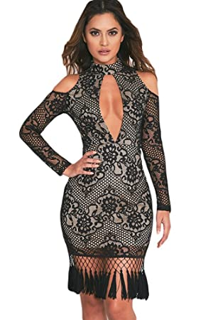 WOJU-HOME Black Premium Lace Tassel Detail Bodycon Dress