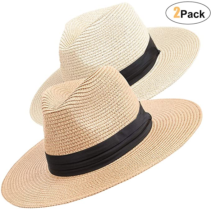 1cb3128f0 Maylisacc Straw Panama-Hat Sun-Hats for Women and Men Summer Travel Roll Up  Beach Fedora UPF50+