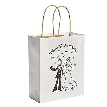 Wedding Welcome Bags.Happy Couple Kraft Paper Wedding Gift Bags 1 Dozen