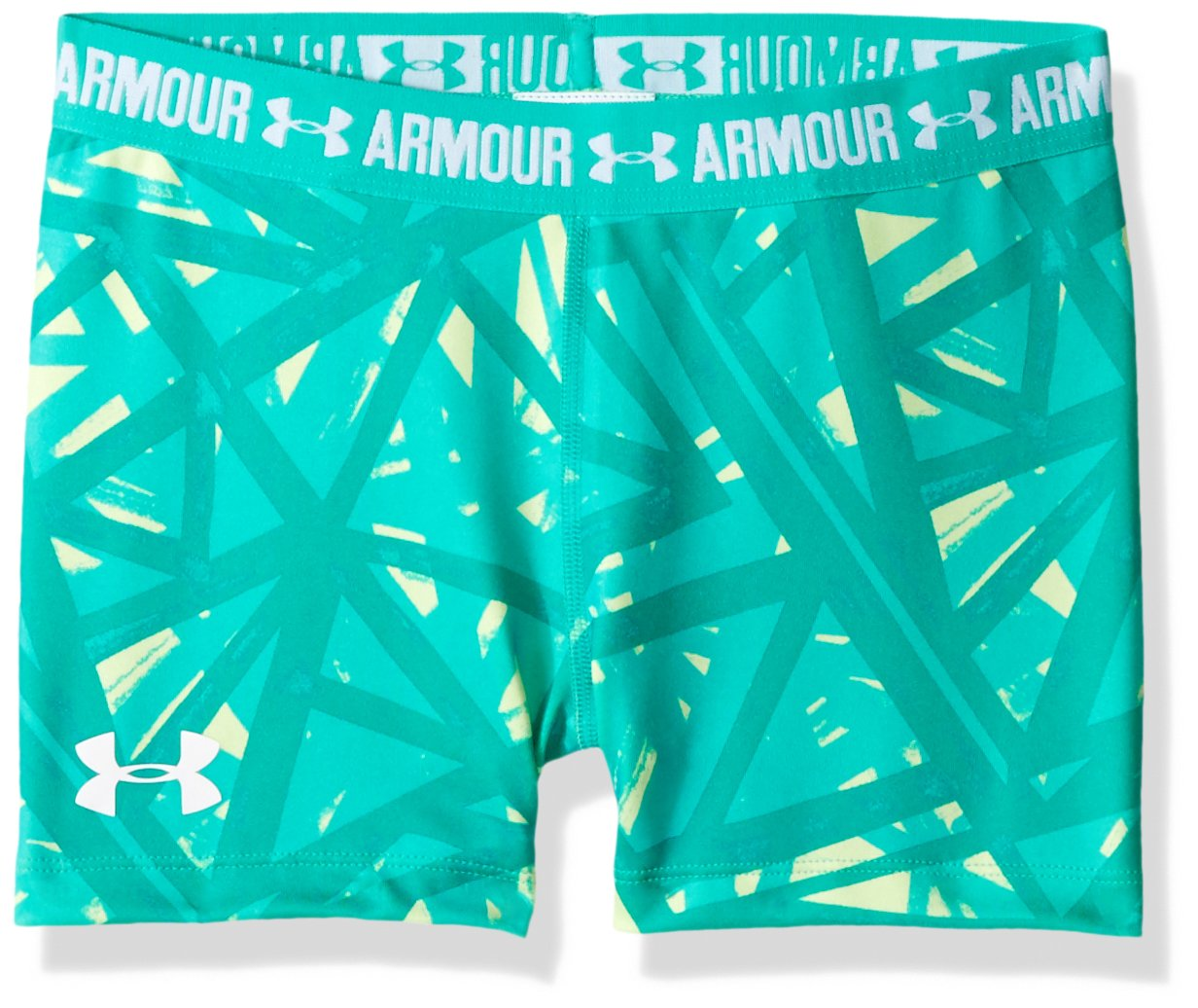 Under Armour Girls' HeatGear Armour Printed 3'' Shorty,Summer Lime /White, Youth Large by Under Armour