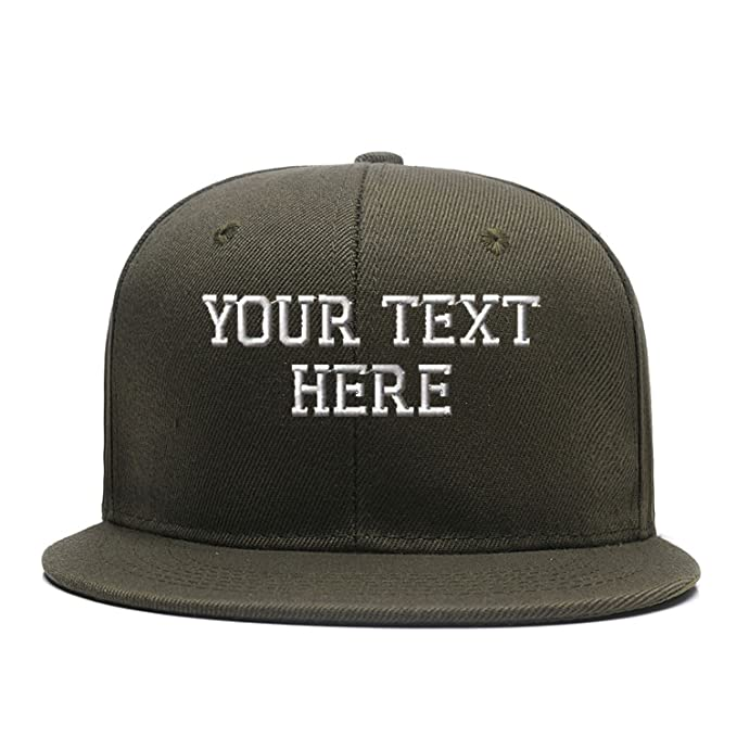ce9a9213046 Custom Team Snapback Personalized Embroidered Hip Hop Flat Brim Baseball  Hats Army Green