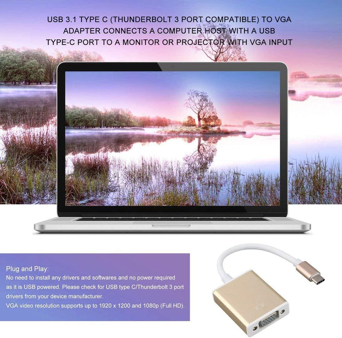 Type C USB3.1 to VGA Adapter USB-C to VGA Connector Golden Digital Hub with Aluminium Case Plug /& Play YAHALOU