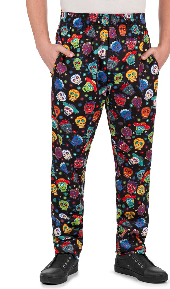 Men's Calavera Print Chef Pant (XS-3X) (X-Small) by ChefUniforms.com