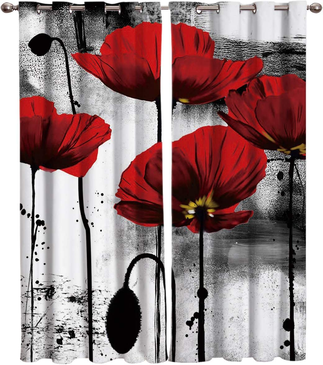 """T&H Home Vintage Curtains, Red Poppy Flower Ink Painting Window Curtain, 2 Panel Curtains for Sliding Glass Door Bedroom Living Room, 80"""" W by 84"""" L"""