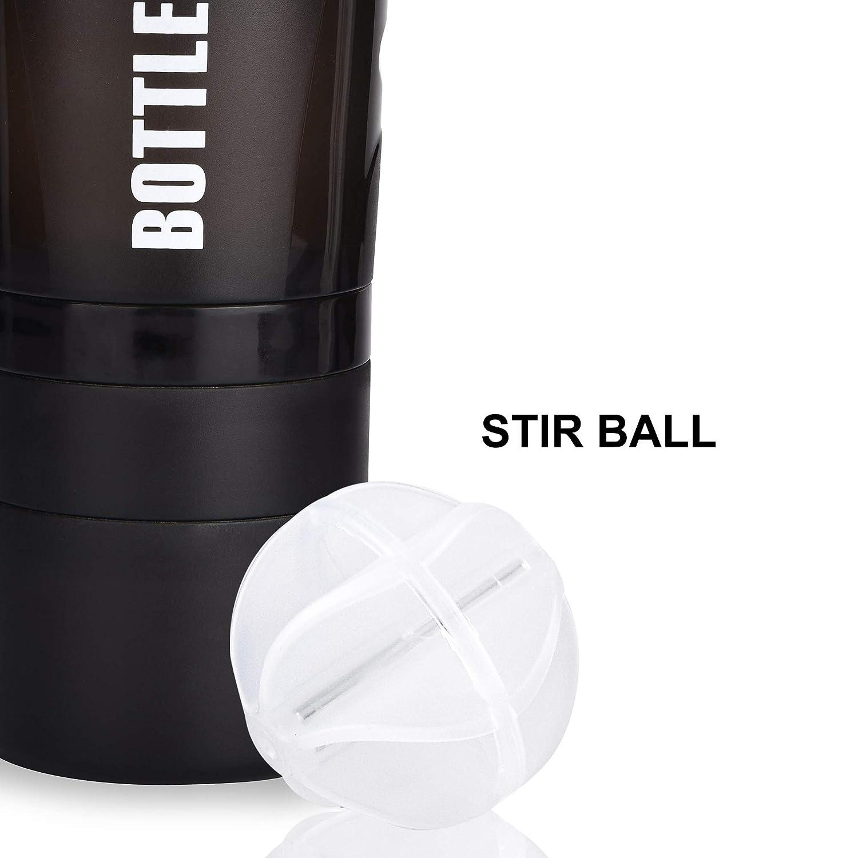 Joy en Bouteille Shaker Bouteille Ceinture Style Bouteille deau Anti-fuites sans BPA Bouteille deau Mitigeur Prot/éine M/élange des poudres Shaker Bouteille 567/Gram Noir