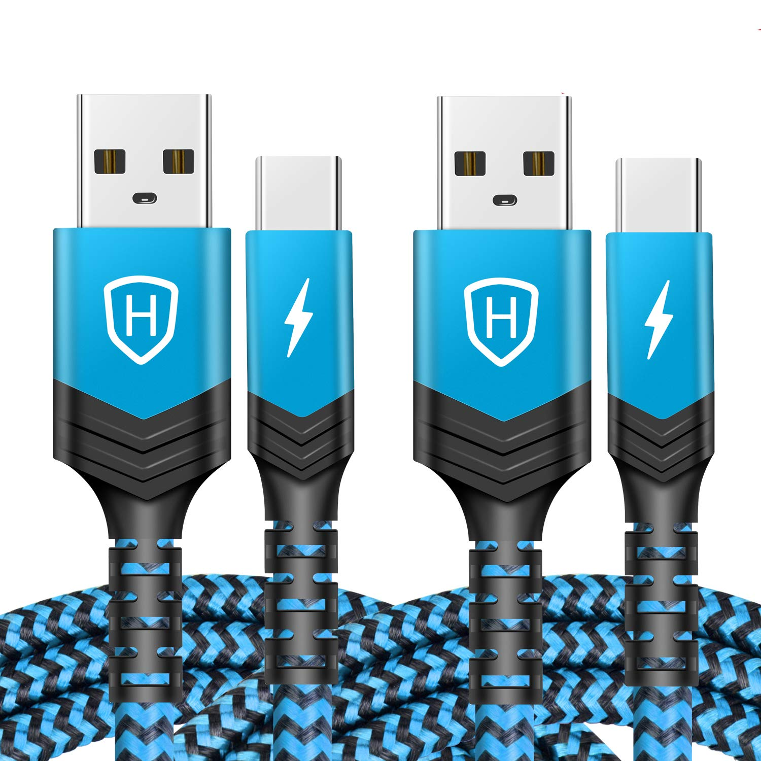 USB Type C Cable,[2-Pack][10ft]USB A toType C Cable Nylon Braided Fast Charger Sync Cord Compatible Samsung Galaxy S10 S9 S8 Plus Note 9 8,Moto Z,LG V30 V20 G5,Google Pixel XL,USB C Devices (Blue)