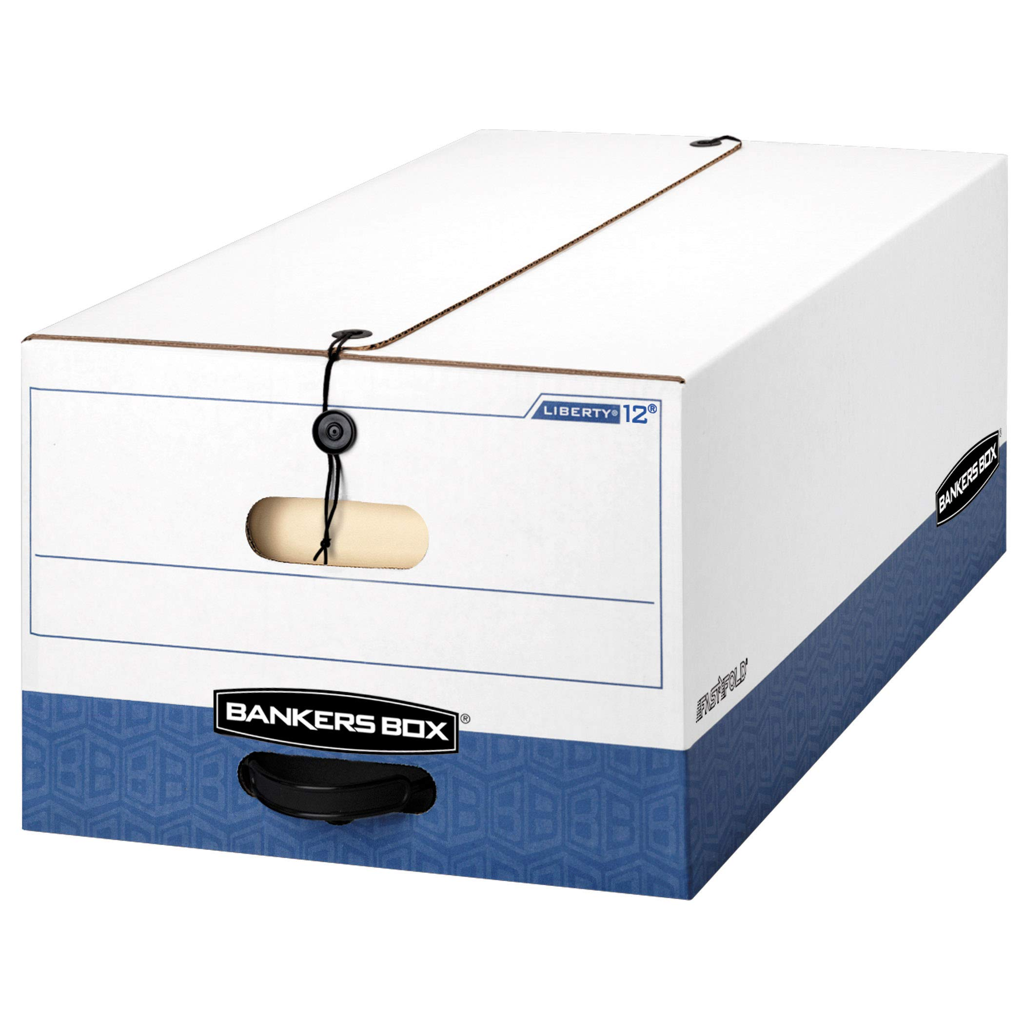 Bankers Box LIBERTY Heavy-Duty Storage Boxes, FastFold, String and Button, Legal, Case of 12 (00012) by Bankers Box