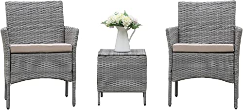 home swee 3 Pieces Patio Furniture Set PE Rattan Wicker Outdoor Sofa Set
