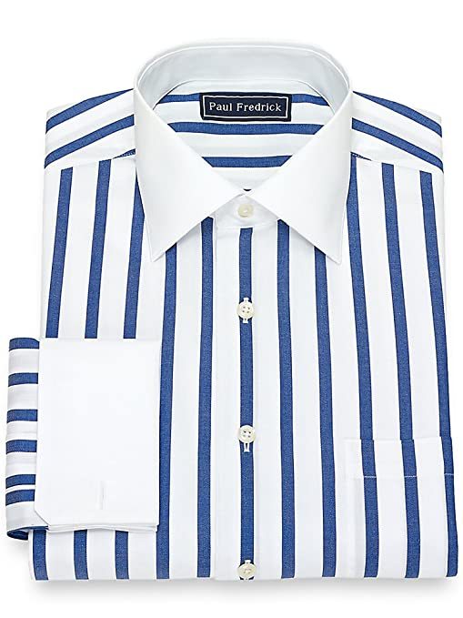1920s Style Mens Shirts | Peaky Blinders Shirts and Collars Paul Fredrick Mens Cotton Wide Stripe Dress Shirt $79.50 AT vintagedancer.com