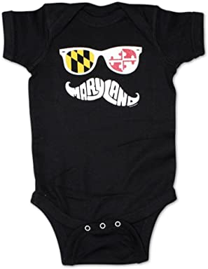 a059e0a7c Route One Apparel | Maryland Mustache Baby Onesie in Black
