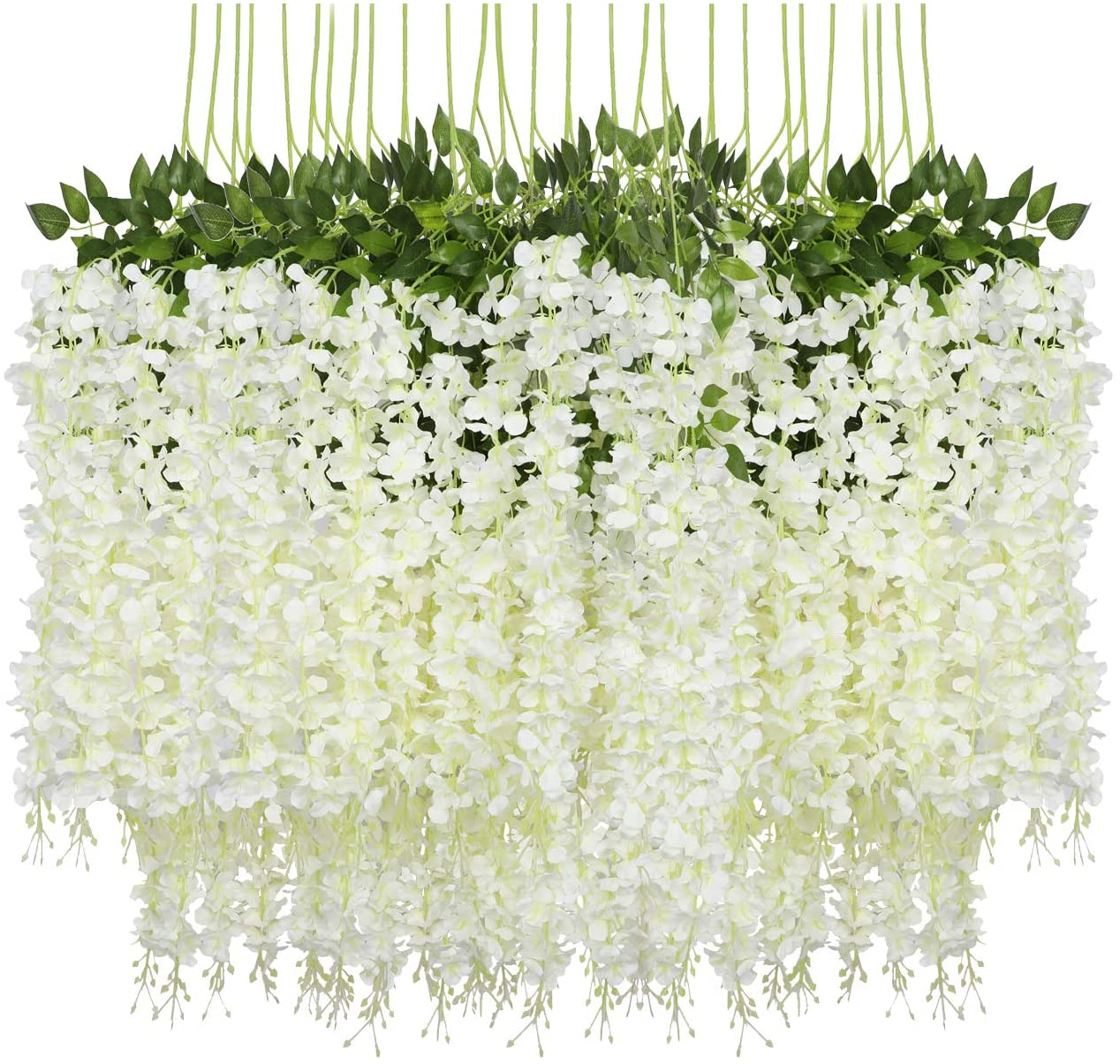 12 Pack Artificial Wisteria Vine Garland White Fake Silk Wisteria Vine Hanging Flowers String for Home Garden Wedding Decor Indoor and Outdoor Decoration