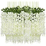 Pauwer 24 Pack (86.6 FT) Artificial Wisteria Vine Ratta Fake Wisteria Hanging Garland Silk Long Hanging Bush Flowers…