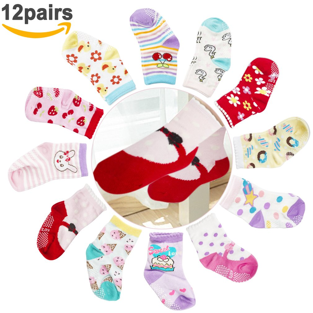 Cubaco 12 Pairs Baby Socks Non Skid Anti Slip Cotton Crew Socks For Baby Toddler Girls