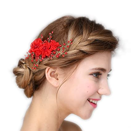 Vintage sposa tiara strass perline rosse Cerchietto matrimonio Prom  fermagli per capelli fascia per capelli gioielli 9a731e9eef30