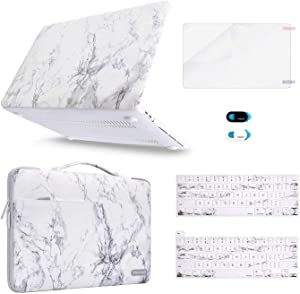 MOSISO Compatible with MacBook Pro 13 inch Case 2016-2020 Release A2289 A2251 A2159 A1989 A1706 A1708, Plastic Hard Shell Case&Sleeve Bag&Keyboard Skin&Webcam Cover&Screen Protector, White Marble