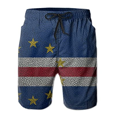 Flag of Cape Verde Leather PatternHandsome Fashion Summer Cool Shorts Swimming Trunks Beachwear Beach Shorts