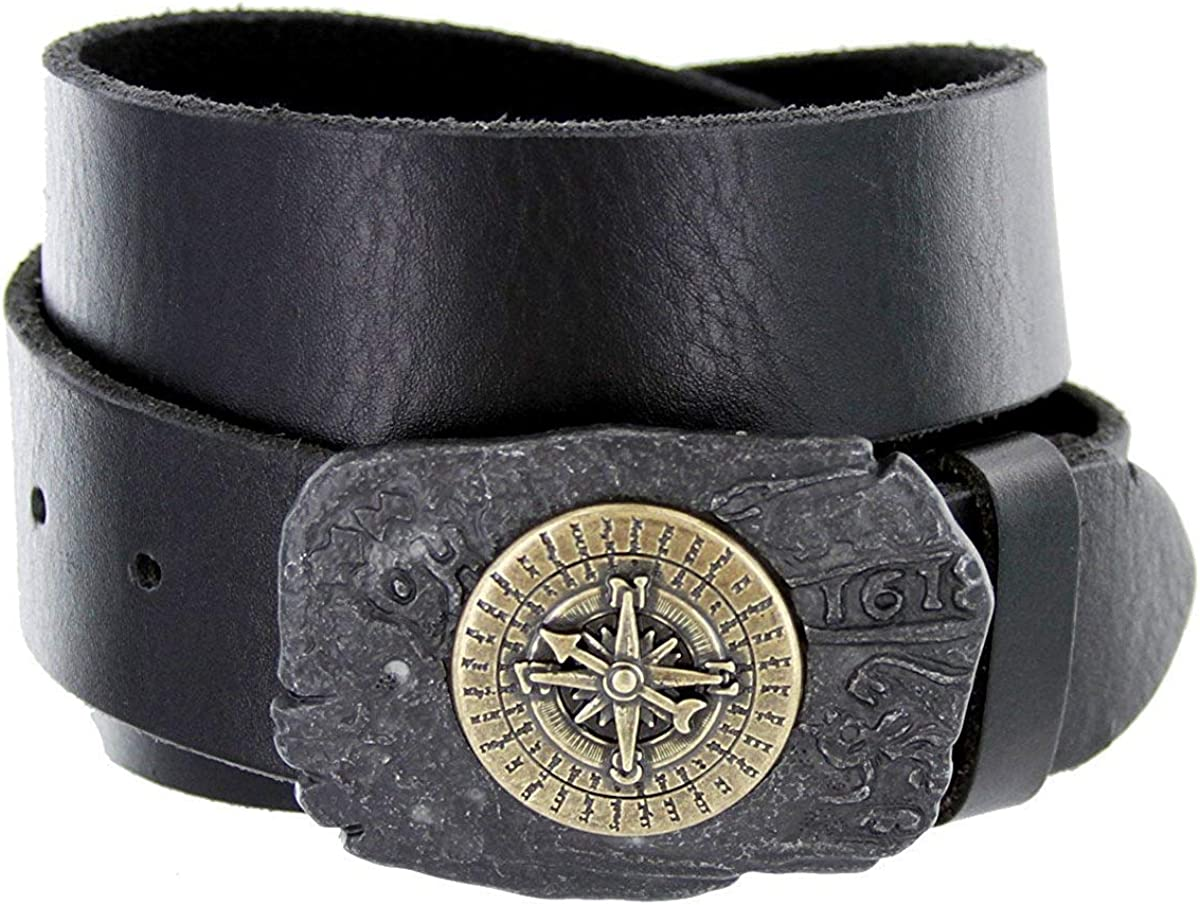 BBBelts Men 1.5 Wide Ancient Plaque Weathered Brass Sea Themed Buckle Belt