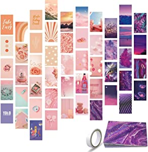 YJIAKA Wall Collage Kit Aesthetic Pictures 50pcs VSCO Print Posters for Teen Girls Room Decor 3.5 x 6 inch Pink Purple Double-sided Wall Art Cards Photo