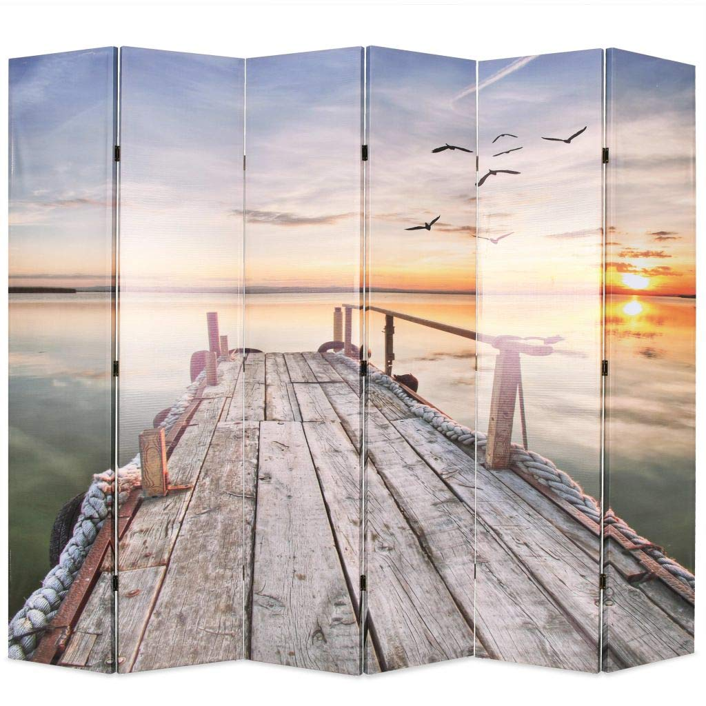 Festnight Folding Room Divider Standing Partition Privacy Screen - Sunset Lake Print 3/4/5/6 Panel (3-Panel)