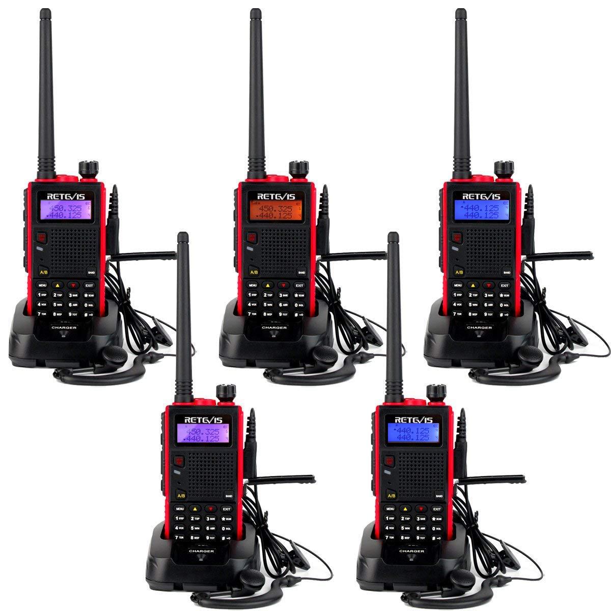 Retevis RT5 Walkie Talkie Banda Dual Auriculares Largo Alcance 128 Canales Cargador Europeo CTCSS DCS Radio FM Monitor VOX Función Escanear y Alarma ...