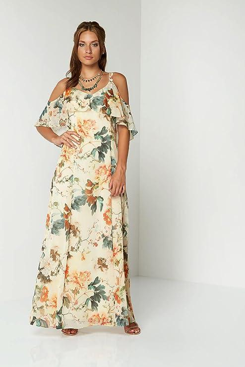 Roman Originals Women Cold Shoulder Chiffon Floral Maxi Dress - Ladies  Oriental Summer Floaty Long Dresses - Beige & Orange: Amazon.co.uk: Clothing