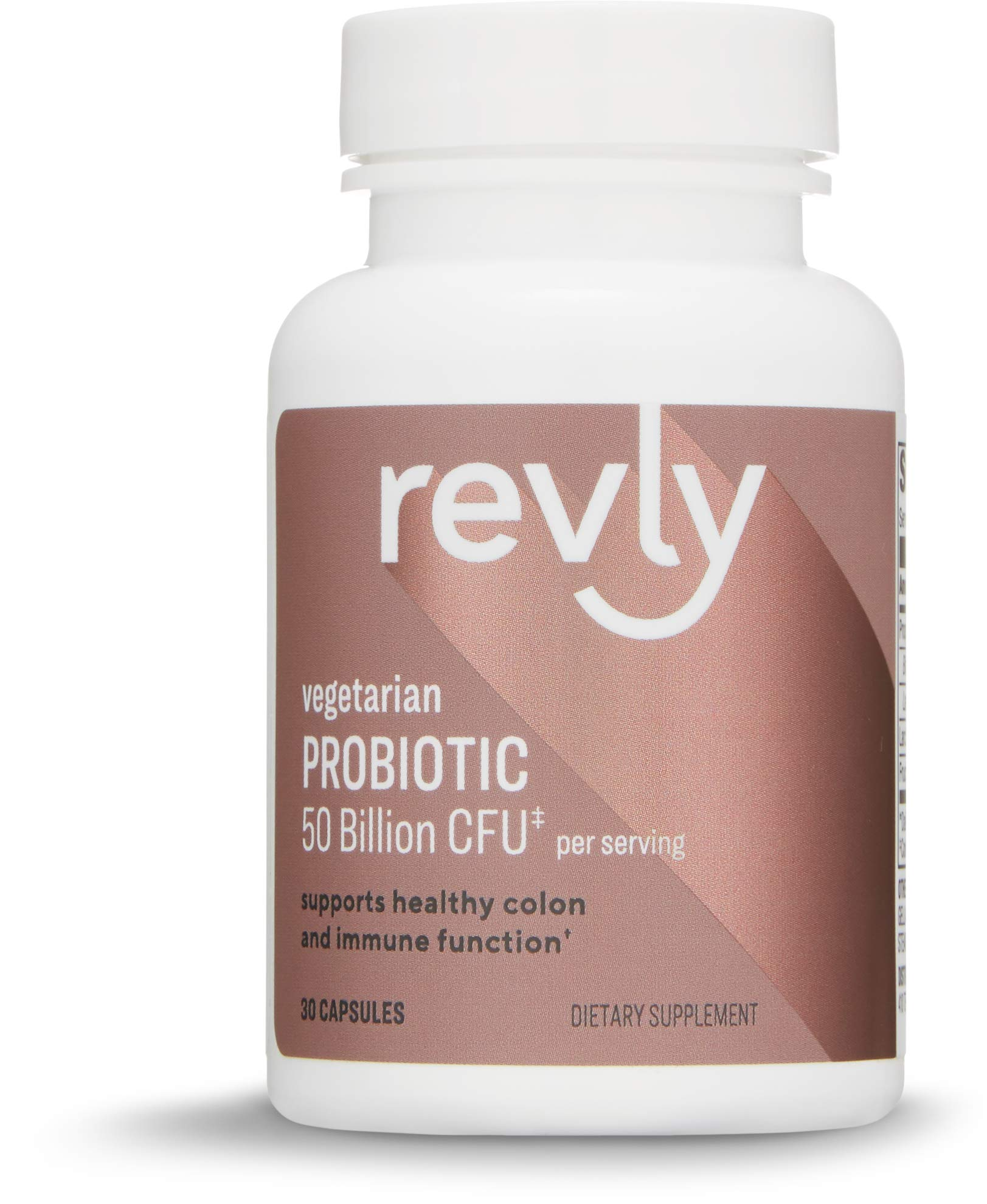 Amazon Brand - Revly Adult Probiotic 50 Billion CFU, 30 Capsules, 1 Month Supply