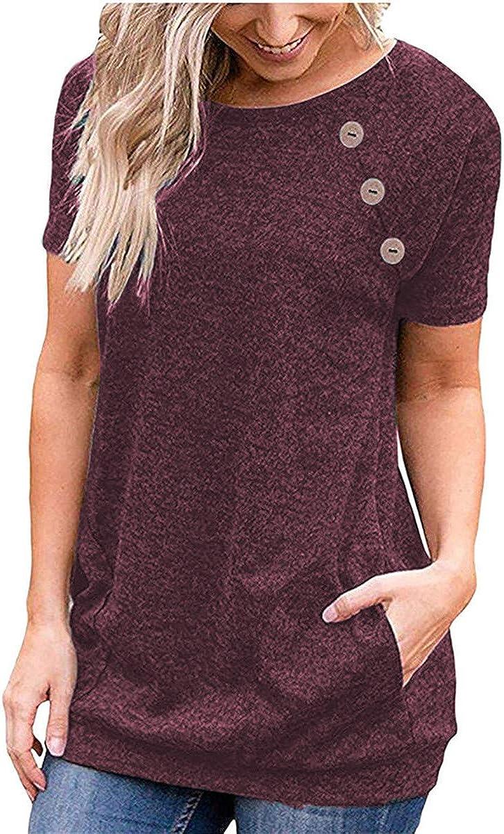 Womens Summer Loose Solid Colour Short Sleeve Shirt Casual Button Tops T-shirt