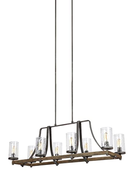 Feiss F3136/8DWK/SGM Angelo Island Chandelier Lighting with Glass ...