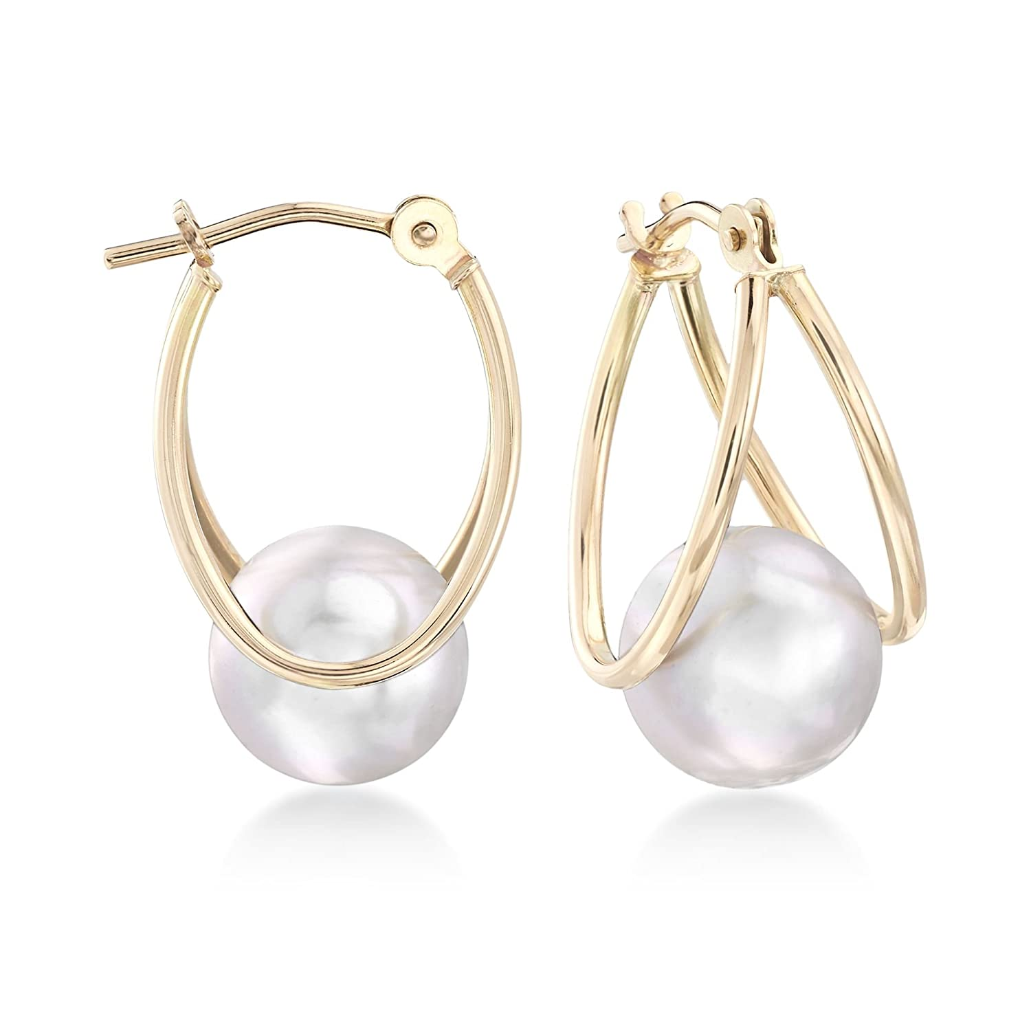 a8969ae95 Amazon.com: Ross-Simons 8-9mm Gray Cultured Pearl Double Hoop Earrings in 14kt  Yellow Gold: Jewelry