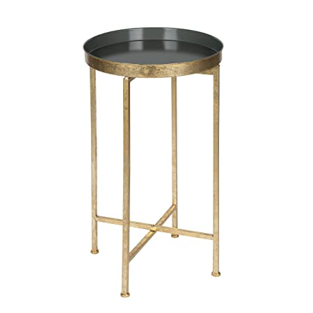 Kate and Laurel 211071 Celia Round Metal Foldable Tray Accent Table, 14x14x25.75, Gold Gray