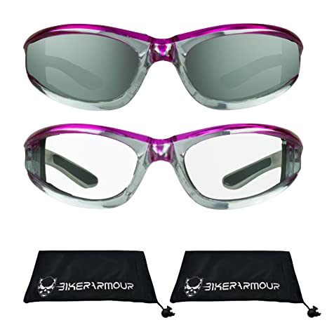 Amazon.com  Chrome Motorcycle Glasses Foam Padded Clear Lens for Men and  Women. (Pink Mirror Smoke + Pink Clear Combo)  Automotive 9a1ea063e7