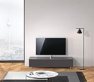 SPECTRAL® JRL1654T-BG - Mueble bajo para televisor con Soporte para televisor y Barra de Sonido Universal, Tapa de Tela, 165,2 x 38 x 48 cm, Superficie de Cristal y Material acústico: Amazon.es: Hogar