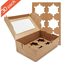 Farielyn-X 30 Packs Kraft Cupcake Boxes, Food Grade Kraft Bakery Boxes with Inserts and Display Windows Fits 6 Cupcakes or Muffins